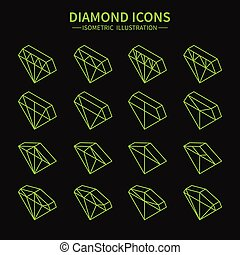 Set of line diamond web icons,symbol,sign in isometric style. Diamonds collection. Elements for design. Vector illustration.