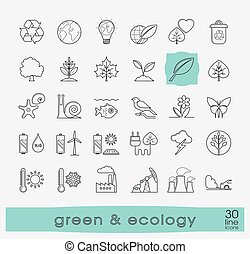 Set of line ecology icons.