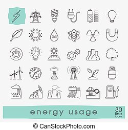 Set of line energy icons. Various energy sources. - Various...