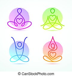 Set of line figure icons in lotus poses for yoga and wellness graphics