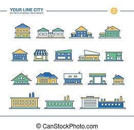 Set of line flat design buildings icons
