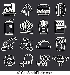 Set of Line Food Icons