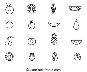 Set of line Fruit icon Vector illustration