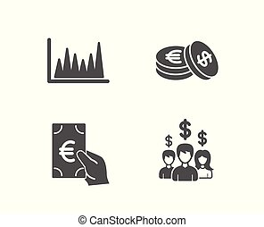 Line graph, Finance and Savings icons. Salary employees sign. Market diagram, Eur cash, Cash coins.