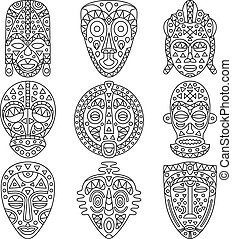 Set of line icons. Different ethnic