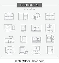 Set of line icons for a bookstore.