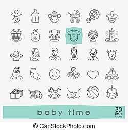 Set of line icons for baby care, feeding and play. First year of parenting.