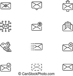 Set of line icons for messages. Vector illustration.