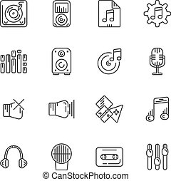 Set of line icons for music. Vector illustration.