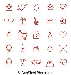 Set of line icons for Valentine day or wedding design