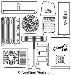 Set of line icons. Heating, ventila