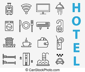 Set of line icons - hotel service