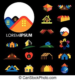set of line icons of buildings vector logo.