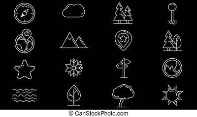 Set of line icons of natural objects - Set of geographic...