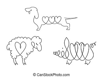 Set of line images of domestic animals - dogs, sheep, pigs.