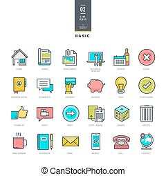 Set of line modern color icons