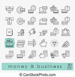 Set of line money and business icons.