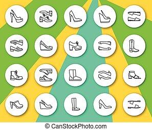 Set of line round icons