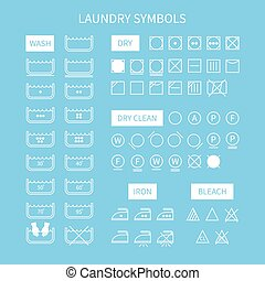 Set of  line simple washing instruction symbols .Laundry icons in flat style. Clothing care. Vector illustration.