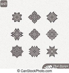 set of Line thai art design