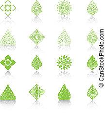 Set of Line Thai Art, Icons Vector Illustration.
