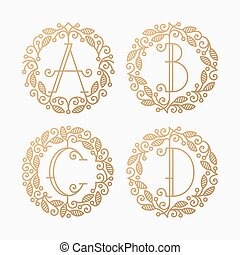 Set of line vector monograms
