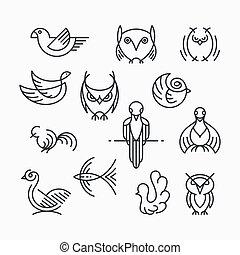 Set of linear design birds