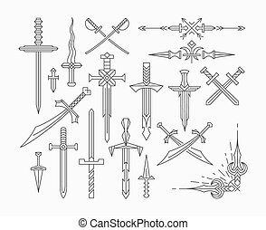 Set of linear historical weapon