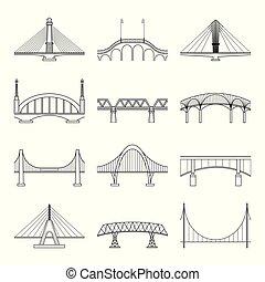Set of linear icons bridges vector.