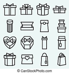 Set of linear icons packaging and g