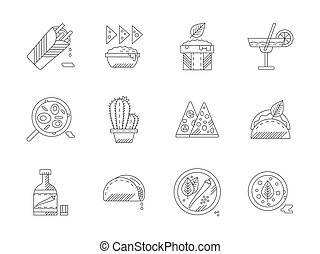 Set of linear mexican food vector icons
