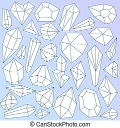 Set of linear mineral crystals on gradient blue background