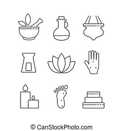 Set of linear outline alternative medicine and spa icons, vector