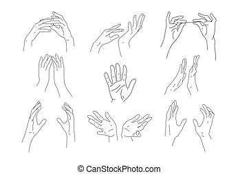 Set of linear outline hands. Two hands hold an object, make ...