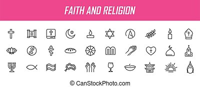 Set of linear religion icons. Faith icons in simple design. ...