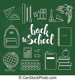Set of linear school items