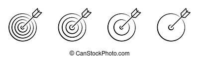 Set of linear targets with arrow. Vector icons