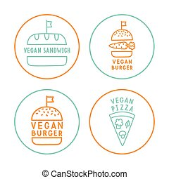 Set of linear vegan badges.