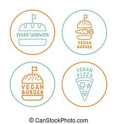 Set of linear vegan badges.