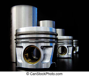 Set of liners and pistons on balck