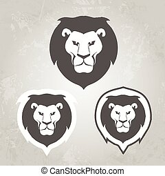 Set of Lion logo templates, for your business, collection of symbols to convey idea of strength power pride honor guard security heritage and traditions