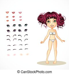 Set of lips, eyes, eyebrows and eyelashes for girls