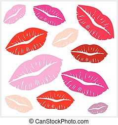 Set of lips print on isolated white background. Vector - Set...