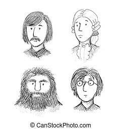 Set of Literature, Music and Cinema Celebrity Faces in Sketch Style. Vector