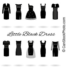 Set of little black dresses in different styles. Cocktail dresses.