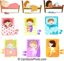 Set of little boys and girls sleeping in their beds. Vector illustration in flat cartoon style.
