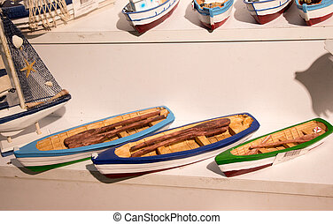 Set of little colorful model boats