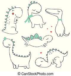 Set of little cute dinos
