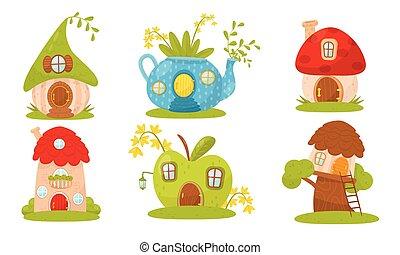 Set of little fairy houses. Vector illustration.