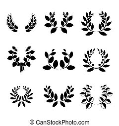 Set of little  laurel wreaths